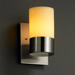 Justice Design Group - CandleAria Dakota One-Uplight Sconce - - Shade Material: Faux Candle Resin  - Mounting Center: 5.75 inch Uplight Justice Design Group - CNDL-8761-10-AMB-NC