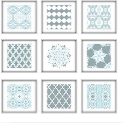 Studio D&K - Light Blue Grey Large Wall Art Set of Prints • Abstract Art - Set of Nine 12x12 Abstract Prints in Shades of Light Blue and Grey