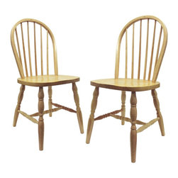 Winsome Wood - Winsome Wood Windsor Dining Chairs (2) with Beech Finish X-73238 - Quality built Windsor chair.  Solid wood construction and all assembled.   Carved Leg.  Smooth Contour seat gives extra comfy.