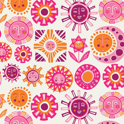 Sun Wallpaper, Pink - Turn a sad little room into a bright and cheerful one with this happy Sun wallpaper by Jonathan Adler. It's guaranteed to make you smile every time you walk through the door.