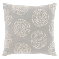 """Surya - Surya LJS-002 Pillow, 18"""" x 18"""", Poly Fiber Filler - With the personal stamp of creative, inspired design brought to you by Lotta Jansdotter, this piece will embody grace in your space. Made in India in 100% cotton, an etched, geometric style floral print in bold beige pops against a vibrantly colored backdrop offers a pillow that will truly be an ideal inclusion from room to room within any home decor."""