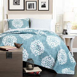 Lush Decor - Sophie Blue Three-Piece Full/Queen Quilt Set - - Classic yet modern, this quilt will brighten up any space. The Damask pattern adds the perfect touch without throwing off the balance of the room. This reversible quilt features a complementary pattern along with flowing color  - Set Includes: 1 Quilt and 2 shams  - Sham Dimensions: 20-Inch H x 26-Inch W  - Fill Content: 100% Polyester  - Care Instructions: Machine Wash Cold, Gentle Cycle, Only Non Chlorine Bleach When Needed, Tumble Dry Low and Cool iron if needed Lush Decor - C26410P14-000