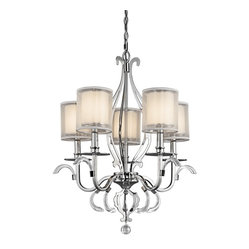 KICHLER - KICHLER KCH-42301-CH Jardine Transitional Chandelier - Experience the alluring impression of soft, subtle candlelight. The Jardine Collection's double shades create the look with striking effect. Delicate, metallic-frosted outer shades soften bright white, interior shades for a beautiful glow. Sculptural, laser-cut flourishes and clear polished pendalogue create fascinating shapes and reflections on this 5 light chandelier.