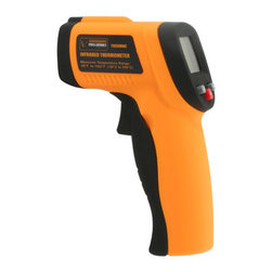 New Buffalo Corp. - Pro-Series Non-Contact Infrared Thermometer - Get accurate temperature readings without touching the object when using the Pro-Series Infrared Thermometer. This device is great for measuring the temperature of hot water pipes, cooking surfaces, electrical connections, electric motors and bearings, or heating and air conditioning vents. The Pro-Series Infrared Thermometer couldn't be easier to use. Just point it at the object, press the trigger, and the temperature appears on the screen almost instantly. The blue backlit LCD Display automatically holds the temperature reading when the trigger is released, and shuts off after 8 seconds to conserve battery life. Measures temperature ranging from -58 degrees F  to 1022 degrees F ( -50 degrees C to 550 degrees C) within 1.5 degree accuracy.