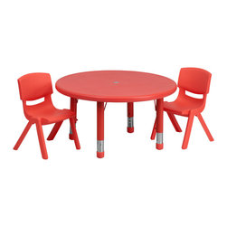 Flash Furniture - Flash Furniture 33'' Round Adjustable Red Plastic Activity Table Set - This table set is excellent for early childhood development. Primary colors make learning and play time exciting when several colors are arranged in the classroom. The durable table features a plastic top with steel welding underneath along with height adjustable legs. The chair has been properly designed to fit young children to develop proper sitting habits that will last a lifetime.