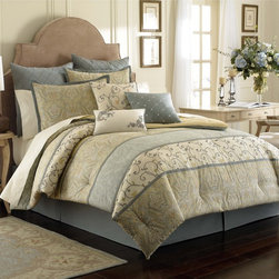 Laura Ashley - Laura Ashley Berkley 4-piece Comforter Set with Euro Sham Separate Option - Laura Ashley Berkely is a beautiful bed featuring panels of paisley,stripe and embroidered scrollwork. The 26 x 26-inch Euro sham is sold as a separate purchase and features an aqua embroidered design.