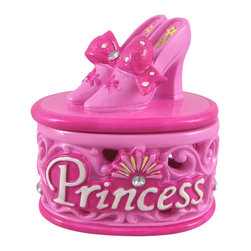 Pretty Pink Princess Slippers Trinket Box - This sweet little trinket box makes a perfect gift for your pretty princess! It features a filigree pattern with crystal clear rhinestone detail and the word `Princess,` while a pair of pink slippers sit on top, tied together with a glittery polka dot bow. The trinket box is made of cold cast resin and measures 3 1/2 inches long, 3 inches tall, 2 1/2 inches wide. Each one is lovingly hand-painted, and adds a whimsical touch to any little girl`s room.