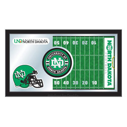 "Holland Bar Stool - Holland Bar Stool North Dakota Football Mirror - North Dakota Football Mirror belongs to College Collection by Holland Bar Stool The perfect way to show your school pride, our Football Mirror displays your school's symbols with a style that fits any setting.  With it's simple but elegant design, colors burst through the 1/8"" thick glass and are highlighted by the mirrored accents.  Framed with a black, 1 1/4 wrapped wood frame with saw tooth hangers, this 15""(H) x 26""(W) mirror is ideal for your office, garage, or any room of the house.  Whether purchasing as a gift for a recent grad, sports superfan, or for yourself, you can take satisfaction knowing you're buying a mirror that is proudly Made in the USA by Holland Bar Stool Company, Holland, MI.   Mirror (1)"
