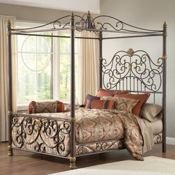 Hillsdale - Stanton Canopy Bed - Built to feature your bedding without getting lost behind the pillows, Hillsdale Furniture''s Stanton bed will create a lasting impression in your master or guest bedroom. The Stanton bed''s impressive and dramatic headboard is only outshined be the massive posts, intricate and generous scroll work. Constructed from heavy gauge tubular steel. Features: -Aged brown with bronzed highlights.-Dramatic headboard.-Massive posts.-Intricate and generous scroll work.-Distressed finish.-Distressed: Yes.Dimensions: -Overall Product Weight: 183 lbs.