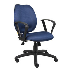 "Boss - Blue Task Chair With Loop Arms - Mid-back styling with firm lumbar support. Elegant styling upholstered with commercial grade fabric. Sculptured seat cushion made from molded foam that contour to the shape of your body. Ratchet back height adjustment mechanism which allows perfect positioning of the back cushion and lumbar support. Standard loop arms. Large 27"" nylon base for greater stability. Pneumatic gas lift provides instant height adjustment of the seat. Adjustable tilt tension that accommodates all different size users. Hooded double wheel casters. Upright locking position. Available in four fabric colors."