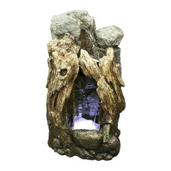 Alpine Fountains - Rain Forest Waterfall Edition w LED lights - Made of Fiberglass. 1 Year Limited Warranty. Assembly Required. Overall Dimensions: 18 in. L x 13 in. W x 30 in. H (31.15 lbs)These fountains bring some wonderful rain accent to your indoor/outdoor space. Each fountain is an original with its own distinctive shading, coloring and texture. Made of lightweight, durable fiberglass, these fountains are ideal for patio and landscape