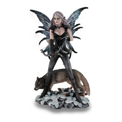 Zeckos - Winter Forest Archer Fairy Standing And Wolf Sculptural Statue - She's the fairy who defends the forest with her wolf protector always by her side. This cast resin 10.5 inch high, 6 inch long, 4 inch wide (27 X 15 X 10 cm) statue beautifully depicts this defender standing with her impressive wings unfurled and holding her bow in pre-draw position while her menacing wolf keeps watch at her feet. Featuring a finely hand-painted finish that highlights all the amazing details, from her wind blown flowing tresses to the snow and branches they stand on, you can almost feel the breeze blowing through the forest as it rushes through her skirt. This fairy archer statue is an enchanting gift any fairy collector is sure to admire, and a must-have addition for your own fairy collection
