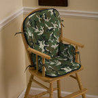 Green Camo High Chair Pad - Body of high chair pad is in Green Camouflage Minky, with Solid Black Minky trim and Solid Chocolate Brown ties.