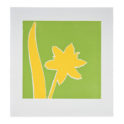 Yellow Armeria - Original Linocut Print - Bright green and yellow pop in this bold original print handmade by a talented husband and wife team. This print series is available various colors and sizes.