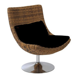 Euro Style - Fenia Natural Rattan Swivel Lounge Chair - Triple brown rattan. Chromed steel base, 19.5 in. diameter. Black microfiber cushion. Swivels. Color/Finish: Triple Brown Rattan/Chrome. 26.5 in. L x 30 in. W x 35 in. HThis chair is positively exotic.  Or is it more organic?  Either way, its a strong woven form holding a comfy black cushion.  The chrome swivel base is a surprise, and a huge supporter of deep thought and napping.