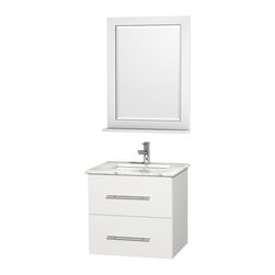 "Wyndham Collection - Wyndham Collection 24"" Centra White Single Vanity w/ Square Porcelain Sink - Simplicity and elegance combine in the perfect lines of the Centra vanity by the Wyndham Collection. If cutting-edge contemporary design is your style then the Centra vanity is for you - modern, chic and built to last a lifetime. Available with green glass, pure white man-made stone, ivory marble or white carrera marble counters, and featuring soft close door hinges and drawer glides, you'll never hear a noisy door again! The Centra comes with porcelain sinks and matching mirrors. Meticulously finished with brushed chrome hardware, the attention to detail on this beautiful vanity is second to none."