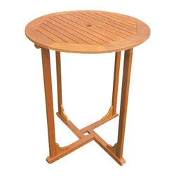"International Caravan - Royal Tahiti 36"" Bar Height Round Patio Table - Made from Premium Balau Hardwood. Very easy to assemble. Premium outdoor weather protection. UV Light Fading Protection. Stain Finish. 36 in. W x 36 in. D x 42 in. H (40 lbs.)"