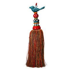 Metal Bird Tassel - What do you do with a decorative tassel? Hang one like this charming bird tassel on your lamp, door knob or curtain tiebacks. It adds a touch of whimsy to any room.