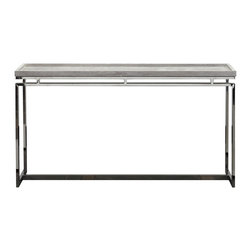 Go Home - Dalton Console - Dalton Console has polished nickel legs and light washed wood tray like top on this console table.Sleek and sophisticated console will create the wow factor in an entry or complimenting the back of a sofa.