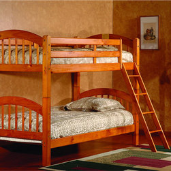 Vifah - Oak Twin Twin Arch Stackable Bunk Bed - You will always have extra space for your guests with this charming and stylish bunk bed. Bring timely elegance to your child's bedroom with this set,constructed of sturdy pine that will last for years to come.