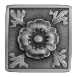 """Notting Hill - Notting Hill Poppy Knob - Antique Pewter - Notting Hill Decorative Hardware creates distinctive, high-end decorative cabinet hardware. Our cabinet knobs and handles are hand-cast of solid fine pewter and bronze with a variety of finishes. Notting Hill's decorative kitchen hardware features classic designs with exceptional detail and craftsmanship. Our collections offer decorative knobs, pulls, bin pulls, hinge plates, cabinet backplates, and appliance pulls. Dimensions: 1-3/8"""" square"""