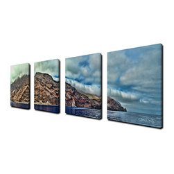 Ready2HangArt - Ready2hangart Chris Doherty 'Guadeloupe Island' 4-piece Canvas Wall Art - The 'Guadeloupe Island' 4-piece canvas art set depicts the Guadeloupe Island thru a mist of clouds and radiantly deep blue sea. This 4-piece canvas art set features a tropical theme and is gallery-wrapped canvas for a contemporary look.