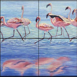 The Tile Mural Store (USA) - Tile Mural - Ngorongoro Dance - Cc - Kitchen Backsplash Ideas - This beautiful artwork by Cory Carlson has been digitally reproduced for tiles and depicts pink flamingos  Images of waterfowl on tiles are great to use as a part of your kitchen backsplash tile project or your tub and shower surround bathroom tile project. Pictures of egrets on tile, images of herons on tile and decorative tiles with ducks and geese make a great kitchen backsplash idea and are excellent to use in the bathroom too for your shower tile project. Consider a tile mural of water fowl for any room in your home where you want to add interesting wall tile.