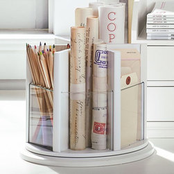Bedford Lazy Susan, Antique White - This wooden lazy Susan adds such a touch of whimsy to your desk. I love the clear Lucite that lets you see what's in each compartment.