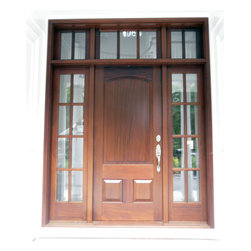 Mahogany Wood Door with sidelights and transom - Mahogany wood entry door with arched top panel and TDL sidelights and transom.