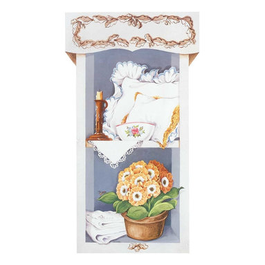 Renovators Supply - Prints White Wood Print Set of 2 Pantry Scene w/Hangers 36'' H - Print. This 2 panel pantry scene measures 36 inch high x 20 inch wide. Comes with 2 Hangers for Easy Installation.