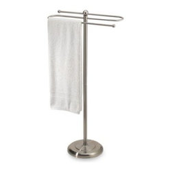 Taymor Industries Inc. - 2-Tier Satin Nickel Towel Stand - This towel valet is sleek and simple in its design, yet it is a fully functional accessory for your bath or washroom. Holds two towels and is easy to assemble.