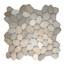 "CNK Tile - Sliced Java Tan Pebble Tile - Each pebble is carefully selected and hand-sorted according to color, size and shape in order to ensure the highest quality pebble tile available.  The stones are attached to a sturdy mesh backing using non-toxic, environmentally safe glue.  Because of the unique pattern in which our tile is created they fit together seamlessly when installed so you can't tell where one tile ends and the next begins!     Usage:    Shower floor, bathroom floor, general flooring, backsplashes, swimming pools, patios, fireplaces and more.  Interior & exterior. Commercial & residential.     Details:    Sheet Backing: Mesh   Sheet Dimensions: 12"" x 12""   Pebble size: Approx 3/4"" to 2 1/2""   Thickness: Approx 3/8""   Finish: Natural Sliced Tan"