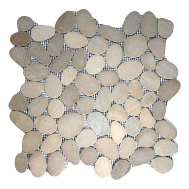 """CNK Tile - Sliced Java Tan Pebble Tile - Each pebble is carefully selected and hand-sorted according to color, size and shape in order to ensure the highest quality pebble tile available.  The stones are attached to a sturdy mesh backing using non-toxic, environmentally safe glue.  Because of the unique pattern in which our tile is created they fit together seamlessly when installed so you can't tell where one tile ends and the next begins!     Usage:    Shower floor, bathroom floor, general flooring, backsplashes, swimming pools, patios, fireplaces and more.  Interior & exterior. Commercial & residential.     Details:    Sheet Backing: Mesh   Sheet Dimensions: 12"""" x 12""""   Pebble size: Approx 3/4"""" to 2 1/2""""   Thickness: Approx 3/8""""   Finish: Natural Sliced Tan"""