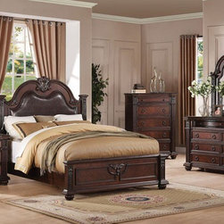 Acme Furniture - Daruka Cherry Finish 5 Piece King Bedroom Set - 21304CK-5Set - Set includes California King Bed, Dresser, Mirror, Nightstand and Chest