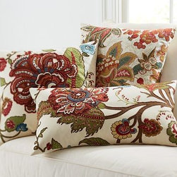 "Riley Floral Embroidered Lumbar Pillow Cover, 16 x 26"" - Using a medley of techniques, including hand embroidery, applique and screen printing, we've taken an artful hand to each of these covers. The warm colors and soft textures bring out the richness of the spring flowers and vines. 20"" square 16 x 26"" Made of pure cotton. Front design is screen printed. Reverses to solid almond. Hidden zipper; insert sold separately. Machine wash. Imported."