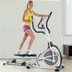Kettler Elyx 1 Elliptical Cross Trainer - Get every bit of your workout completed before you even leave your home with the Kettler Elyx 1 Elliptical Cross Trainer. With 8 programs you're sure to find several different levels of resistance training with varied adjustments to help work different muscles. The blue backlit LCD electronic computer display with push & turn controls displays your total distance, time, speed, RPM, energy consumption, and heart rate. The heart rate control programs maintain target rate by automatically adjusting resistance. The Quick-start feature activates the machine if you simply begin pedaling & the recovery feature is for cardio-wellness index calculation. The adjustable foot plates with three positions are designed for varied elliptical motions and movements. The motor-controlled variable magnet resistance system features 16 resistance levels so you can excel at your own pace. Constructed from a sturdy steel frame, this machine was designed to withstand rigorous workouts for years to come. Weight capacity: 285 lbs. Manufacturer's limited residential warranty cover parts for 2 years.About Kettler ProductsThis item is manufactured by Kettler. Throughout the world, Kettler is a leading brand in leisure furniture, sports and fitness equipment, table tennis tables, bicycles, and children's outdoor toys. Since 1949, the company has grown from a small enterprise in Heinz Kettler's home town of Ense-Parsit in Germany into a world-wide manufacturing and marketing organization. Heinz Kettler has always remained true to the Made in Germany quality principle and it is still the central pillar of the company's management philosophy. This means that even after 50 years of trading all over the world, most of the factories, and particularly the most important ones, are still in Germany.