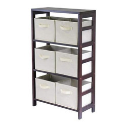 Winsome Wood - Capri Storage Shelf with 6 Beige Fabric Baskets - Our Capri M-Storage Shelf comes with 6 foldable biege fabric baskets. Warm Walnut finish storage shelf is perfect for any room in your home. Use it alone as bookcase/shelf or with baskets for a complete storage function.