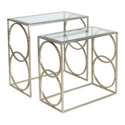 Worlds Away - Worlds Away Hammered Nesting Tables in Champagne Silver Leaf Set of 2 LEE S - Worlds Away Hammered Nesting Tables in Champagne Silver Leaf�Set of 2 LEE S