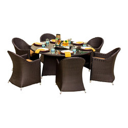 Lakeview Outdoor Designs - Providence 6-Person Resin Wicker Patio Dining Set With Lazy Susan - The Providence collection balances long lines with sloping angles for a modern approach to outdoor furniture. This 7-piece dining set has enough seating for 6 people, plus the built-in lazy susan on the 63-inch table makes family style dining smooth and efficient. The set includes 3-inch thick canvas camel cushions made with washable, Sunbrella fabric that will not fade in the sun. The top-grade Viro all-weather resin wicker is made using an exclusive technique creating beautiful synthetic fibers that are completely colored throughout and not just on the outside. The superior quality and meticulous construction ensures your furniture will not crack, peel or fade from season to season or in extreme weather conditions (-96 to 176 degrees). The wicker is then hand-wrapped over a hidden, powder-coated and rust-resistant aluminum frame with non-marking, adjustable leveling feet for support and durability. Dimensions (in inches): Dining Table: 63 W X 63 D X 29 H. Dining Chair: 22 W X 25 D X 33 H. Lazy Susan: 18 W X 18 D.