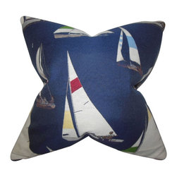 """The Pillow Collection - Kelton Coastal Pillow Blue - Model your home after a coastal style with this contemporary decor piece. This throw pillow features a nautical-inspired pattern in shades of red, white, yellow and blue. A perfect statement piece for your living space, this 18"""" pillow blends well with other patterns. Made of high-quality fabric and crafted in the USA. Hidden zipper closure for easy cover removal.  Knife edge finish on all four sides.  Reversible pillow with the same fabric on the back side.  Spot cleaning suggested."""