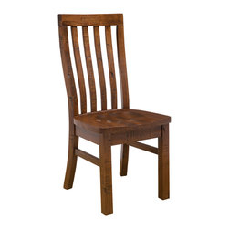Hillsdale Furniture - Hillsdale Outback Dining Chair (Set of 2) in Distressed Chestnut - Crafted from high mountain ash solids and some select plywood, the Outback collection is sturdy and stylish. The timbers are mill cut to give each-piece an aged and distressed appearance. The warm chestnut finish is complemented by the natural imperfections of knots, cracks and blemishes. Each-piece is unique and full of rustic charm. The mission style chairs have gently curved backs and wood seats. The table has stout, square legs, and is large enough to seat 6 comfortably. The Outback dining is a perfect addition to any home.