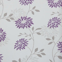 Bijou Coverings - Modern Floral Wallpaper, Purple and Grey - Bijou Coverings wallcoverings can transform a room quickly and easily. In today's world, wallpaper is the hip new approach to cover your walls, a way to express your individuality and personal taste. You can wallpaper all four walls or just even an accent wall. Our patterns consists of being fresh and modern with great textures. We have an option for all tastes. Our wallcoverings are washable for stability and ease of use.