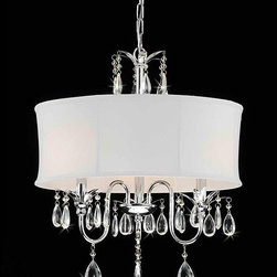 Crystal Chrome 3-light Chandelier - This light looks great over a master bed and wow, look at the price! I love the drum shade.