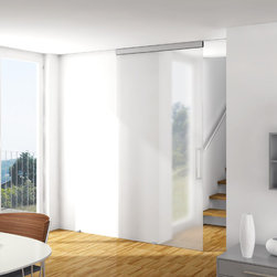 """HAWA-Junior Series for Glass - The HAWA-Junior 40-80/GL is an appealing solution for sliding glass doors with a weight up to 176 lbs. and width of up to 3'11"""".  The technology disappears behind flexible covers and a continuous, straight line profile.  Hawa products are available through distributors across the U.S."""