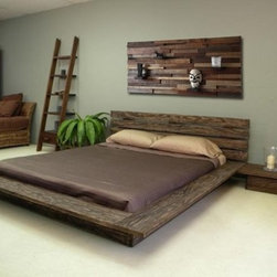 Reclaimed wood bed, headboard and night stands - reclaimed wood bed and headboard