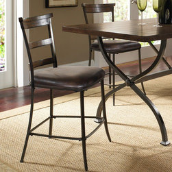 """Hillsdale - Cameron Ladder Back Non-Swivel Counter Stool in Distressed Chestnut Brown (Set o - Hillsdales Cameron non-swivel ladder back stool features 3 rungs in the Chestnut brown finish, enhanced by the dark grey metal and brown faux leather seat. Solid wood with metal, 100% Polyester seat fabric. Indoor use only. Set includes 2 Ladder Back non-swivel stools. Features: -Set includes 2 ladder back non-swivel counter stools. -Cameron collection. -Wood accent finish: Distressed chestnut brown. -Metal frame finish: Distressed dark gray. -100% Polyester, dark brown, faux leather seat. -Some assembly required. -Seat height: 26"""". -Dimensions: 41.75"""" Height x 19.5"""" Width x 19.25"""" Depth."""