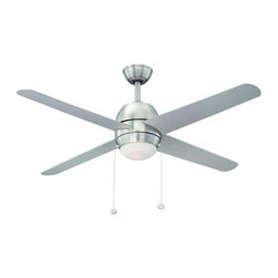 Hampton Bay - Indoor Ceiling Light with Fan: Hampton Bay Northport 52 in. Brushed Nickel Ceili - Shop for Lighting & Fans at The Home Depot. Add a contemporary look to your home with the Hampton Bay Northport 52 in. Brushed Nickel Ceiling Fan. This 3-speed fan features 4 silver blades to help move air efficiently, with quiet, wobble-free operation. The light kit offers etched opal glass and includes a halogen bulb for brilliant illumination. The handy pull chains provide independent light and speed controls.