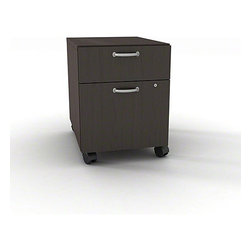 "Turnstone - Turnstone | Currency Mobile Pedestal, Small - Conveniently store away office supplies and files with the Currency Mobile Pedestal, Small. This filing cabinet can be rolled anywhere it's needed, offers one small utility drawer and one file drawer that accommodates letter or legal size hanging file folders. A convenient lock keeps items secure. Select from two drawer pull styles to create the right look for your modern office.  Product Features:  Select from Handle pull or Ledge pull Full-extension, heavy-duty ball-bearing drawer suspensions for file drawer Box drawer has steel roller slides and opens up 0.75"" of their depth Black laminate interior One pencil tray Accommodate front-to-back or side-to-side of letter-size file folder frames Side-to-side legal-size hanging file folder frames Lock cylinder in one of two finishes Non-locking casters in black"