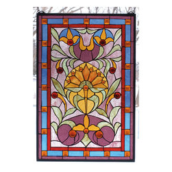 Meyda - 20 Inch W X 30 Inch H Picadilly Window Windows - Color Theme: Naebwg Orange Red Lt Blue Pink Amber