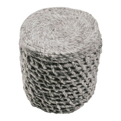 """16"""" x 18"""" Scandinavian Puri Gray Pouf - Pewter-colored, variegated woolen yarn twists into a large-scale take on basket weave in this drum-shaped small ottoman, the Scandinavian Puri Gray Pouf. The shapes in the construction of the pouf's sides suggest rigidity, craftsmanship, and strength, while the felted textures and soft textile looks of the material make for an inviting, gentle appearance."""
